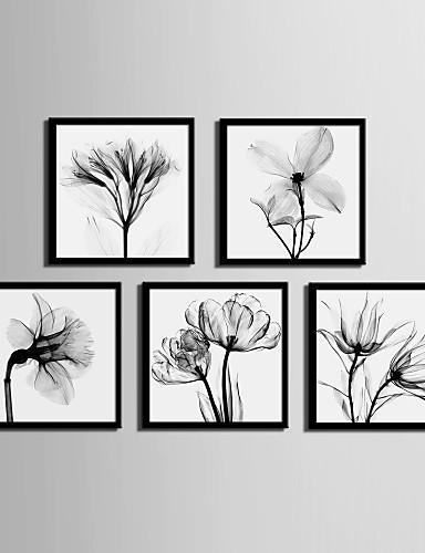preiswerte Florale/botanische gerahmte Kunst-Gerahmtes Leinenbild Gerahmtes Set - Blumenmuster / Botanisch PVC Darstellung Wandkunst