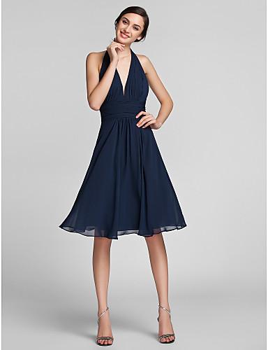 preiswerte Kaiserliches Blau-Eng anliegend Halter Knie-Länge Chiffon Brautjungfernkleid mit Drapiert / Gerafft durch LAN TING BRIDE®