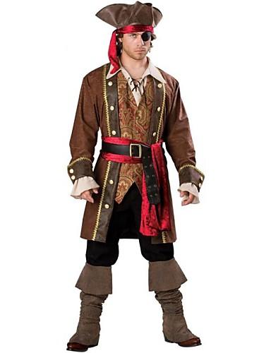 preiswerte Herrenbekleidung-Seeräuber Cosplay Kostüme Herrn Halloween Fest / Feiertage Terylen Herrn Karneval Kostüme / Kopfbedeckung