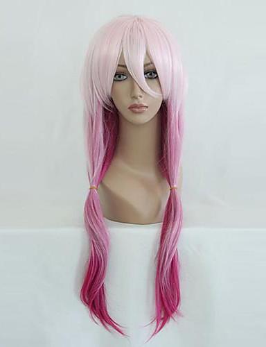 povoljno Maske i kostimi-Kriv kruna Inori Yuzuriha Cosplay Wigs Žene 26 inch Otporna na toplinu vlakna Pink Anime