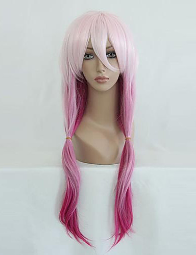 povoljno Anime cosplay-Kriv kruna Inori Yuzuriha Cosplay Wigs Žene 26 inch Otporna na toplinu vlakna Pink Anime