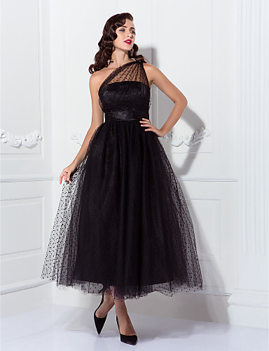 cheap Evening Dresses-Back To School A-Line Vintage Black Cocktail Party Prom Dress One Shoulder Sleeveless Ankle Length Tulle with Pleats Pattern / Print 2020 Hoco Dress