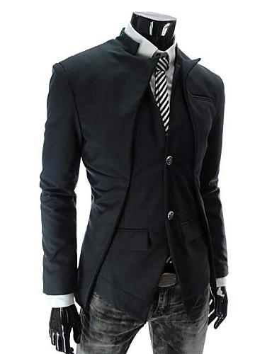 preiswerte Überbekleidung-Formal / Arbeit Standard Blazer, Solide Langarm Baumwolle Weiß / Schwarz / Grau L / XL / XXL