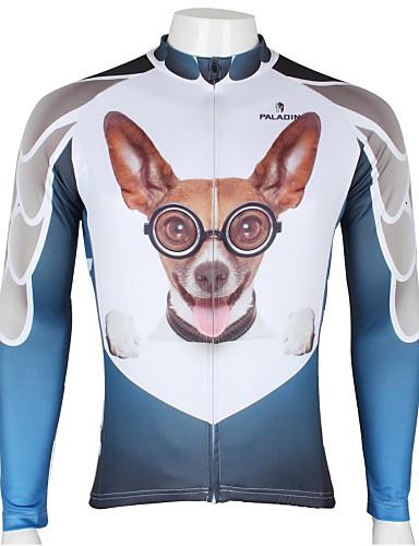 povoljno Odjeća za vožnju biciklom-ILPALADINO Muškarci Dugih rukava Biciklistička majica White+Sky Blue Pas Životinja Crtani film Bicikl Biciklistička majica Majice Brdski biciklizam biciklom na cesti Prozračnost Quick dry Ultraviolet