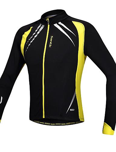 povoljno Odjeća za vožnju biciklom-SANTIC Muškarci Biciklistička jakna Bicikl Jakna / Biciklistička majica / Majice Vjetronepropusnost, Podstava od flisa, Prozračnost Kolaž Spandex, Runo Zima Yellow / Black Napredan Brdski biciklizam