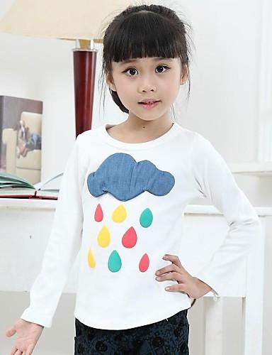preiswerte Mode für Mädchen-Druck Langarm Standard Baumwolle T-Shirt Weiß