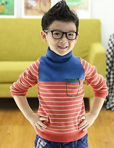 preiswerte Mode für Jungen-Gestreift Langarm Standard Baumwolle Pullover & Cardigan Farbbildschirm