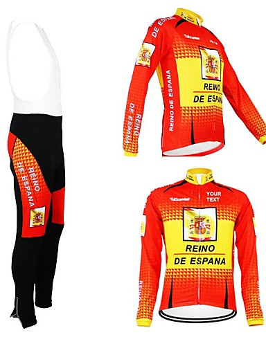 levne Cyklistické oblečení na míru-Cyklistické oblečení na míru Pánské Dámské Dlouhý rukáv Cyklodres a čapáky se šlemi Španělsko Vlastnosti Kolo Dres Celotělové oblečení Zahřívací Zateplená podšívka Prodyšné Voděodolný zip Reflexn