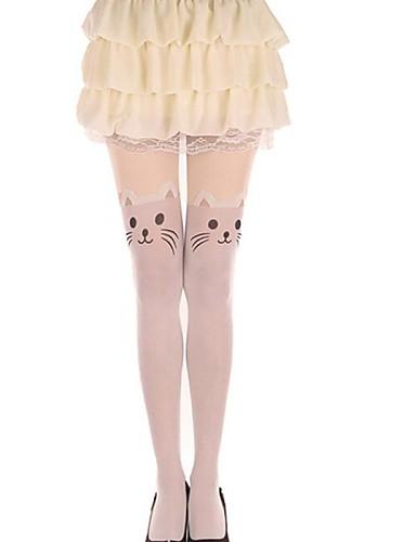 levne Punčocháče-Princeznovské Dámské Sweet Lolita Ponožky a punčochy ponožky do výšky stehen Kočka Zvíře Samet Lolita Příslušenství / Vysoká pružnost