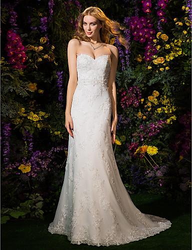 Sheath / Column Sweetheart Neckline Court Train Lace / Tulle Made-To-Measure Wedding Dresses Beading / Appliques / Sash / Ribbon LAN TING BRIDE® / Wedding Dress Color