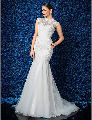 6534017cfaf1 Τρομπέτα   Γοργόνα Ζιβάγκο Ουρά Δαντέλα   Τούλι Φορέματα γάμου φτιαγμένα  στο μέτρο με Πέρλες   Διακοσμητικά Επιράμματα με LAN TING BRIDE®    Αφαιρούμενη ουρά ...
