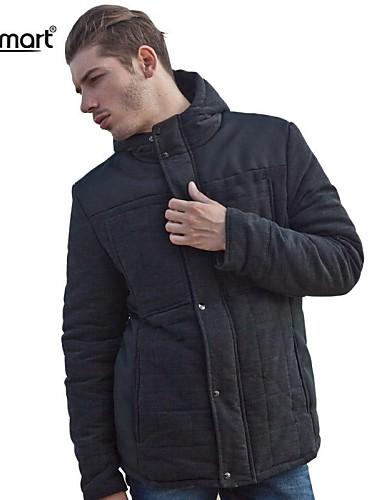 preiswerte Überbekleidung-Herrn Alltag / Arbeit Klassisch & Zeitlos Klassisch Solide Standard Mantel, Baumwolle / Polyester Langarm Braun / Dark Gray