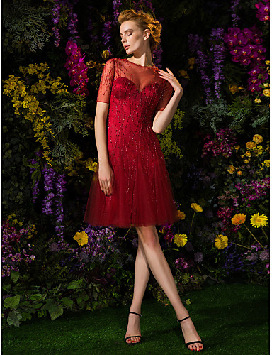 cheap Homecoming Dresses-Back To School A-Line Fit & Flare Beautiful Back Homecoming Cocktail Party Prom Dress Illusion Neck Short Sleeve Knee Length Tulle with Buttons Beading 2020 / Illusion Sleeve Hoco Dress