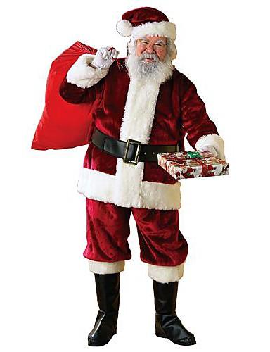 preiswerte Weihnachtskostüme-Santa Anzüge Cosplay Kostüme Herrn Weihnachten Fest / Feiertage Polyester Baumwolle Karneval Kostüme Solide