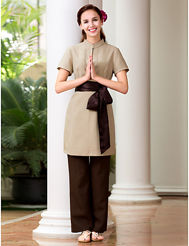 Spa uniforms women s short sleeve mandarin collar spa for Spa uniform supplier in singapore