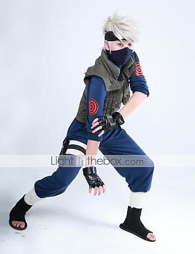 povoljno Maske i kostimi-Inspirirana Naruto Hatake Kakashi Anime Cosplay nošnje Japanski Cosplay Suits Kolaž Dugih rukava Mellény / Top / Hlače Za Muškarci / Žene / Rukavice