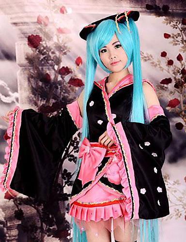 povoljno Anime cosplay-Inspirirana Vocaloid Hatsune Miku Anime Cosplay nošnje Japanski Cosplay Suits / Kimono Kolaž Dugih rukava Suknja / Glava / Rukavi Za Žene / Saten