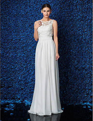 cheap Wedding Dresses-Sheath / Column Illusion Neck Floor Length Chiffon / Lace Elegant Prom / Formal Evening Dress with Sash / Ribbon 2020