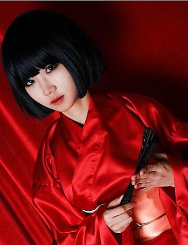 povoljno Maske i kostimi-Hunter x Hunter Kalluto Zoldyck Cosplay Wigs Žene 14 inch Otporna na toplinu vlakna Crn Anime