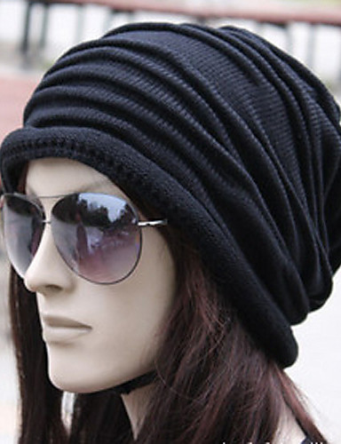 cheap Winter Accessories-Unisex Work Active Cotton Beanie / Slouchy-Solid Colored Pleated Winter Black Brown Gray / Fabric