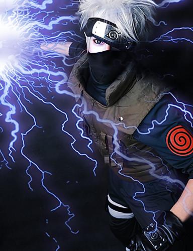 povoljno Maske i kostimi-Naruto Hatake Kakashi Cosplay Wigs Muškarci 14 inch Otporna na toplinu vlakna Sive boje Anime