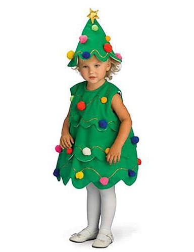 preiswerte Weihnachtskostüme-Weihnachtsbäume Cosplay Kostüme Weihnachtsmann kleiden Kinder Jungen und Mädchen Weihnachten Halloween Fest / Feiertage Polyester Grün Karneval Kostüme