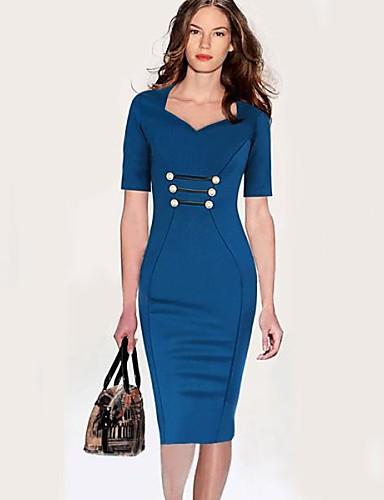 88e15f6b439 τετράγωνο κουμπί κολάρο πολυεστέρα γυναικών κομψά φορέματα εργασίας 2371562  2019 – $11.99