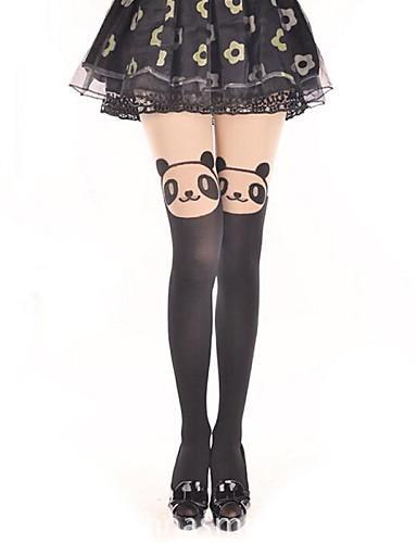 preiswerte Strümpfe-Prinzessin Damen Sweet Lolita Classic Lolita See Through Strümpfe / Strumpfhosen Oberschenkellange Socken Druck Bär Samt Lolita Accessoires / Klassische / Traditionelle Lolita