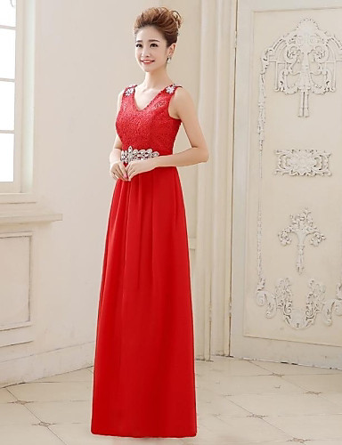 c3ee04d1e22dc سطر الخامس الرقبة الطابق طول جورجيت والمساء فستان الدانتيل 2445326 ...