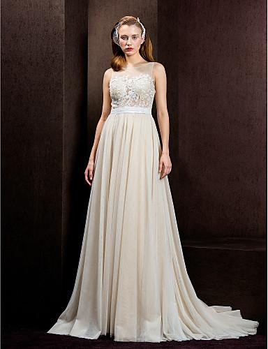8645df67d3ed2 Lanting bruden-line / prinsesse petite / plus størrelser brudekjole-domstol  tog juvel tyl 1798926 2019 – $99.99
