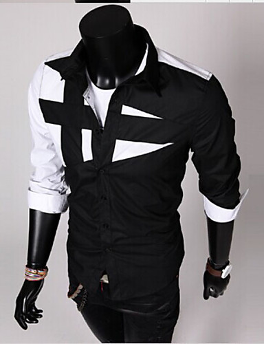cheap White Shirts-Men's Daily Shirt Color Block Patchwork Long Sleeve Slim Tops Spread Collar White Black Wine / Spring / Fall