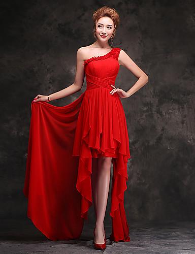 Vestido rojo boda asimetrico