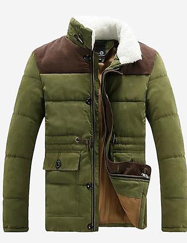 preiswerte Überbekleidung-Herrn Alltag Moderner Stil Solide Standard Mantel, Acryl Langarm Winter Stehkragen Armeegrün / Blau / Khaki XL / XXL / XXXL