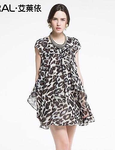 03854fedba22f44 летнее платье свободно случайные леопарда печати о-образным вырезом цельный  платье шифон eral®women с лепестками рукавами плюс размер 2439226 2019 –  $99.99