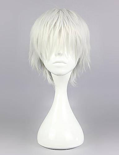 levne Cosplay paruky-Tokyo Ghoul Ken Kaneki Cosplay Paruky Pánské 12 inch Horkuvzdorné vlákno Stříbrná Anime
