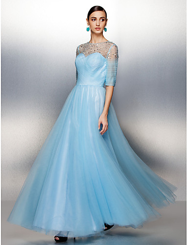 cheap Prom Dresses-A-Line See Through Dress Jewel Neck Floor Length Tulle with Criss Cross Beading 2020