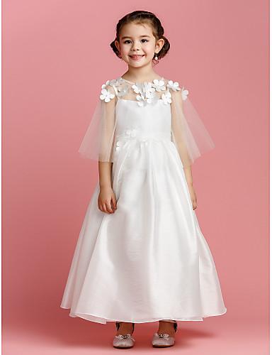 una línea de tobillo de longitud vestido de niña de flores - tafetán ...