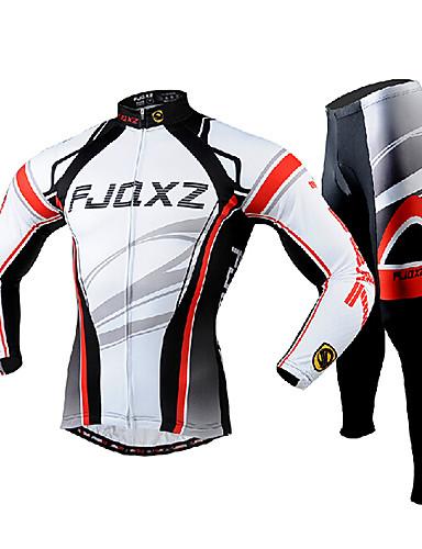 tanie lato rabatu-FJQXZ Męskie Długi rękaw Koszulka i spodnie na rower Biały Rower Zestawy odzież Oddychający Wkładka 3D Szybkie wysychanie Odporność na promieniowanie UV Kieszeń na plecach Zima Sport Poliester