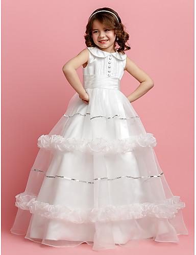 Ball Gown Floor Length Flower Girl Dress - Organza / Satin Sleeveless Jewel Neck Sequin / Buttons / Sash / Ribbon LAN TING BRIDE® / Spring / Summer / Fall / First Communion