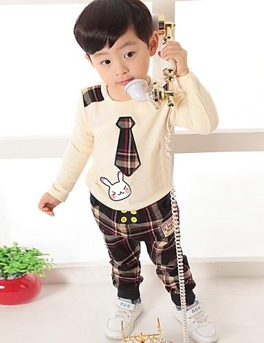 preiswerte Mode für Jungen-Schachbrett Langarm Standard Baumwolle Kleidungs Set Braun