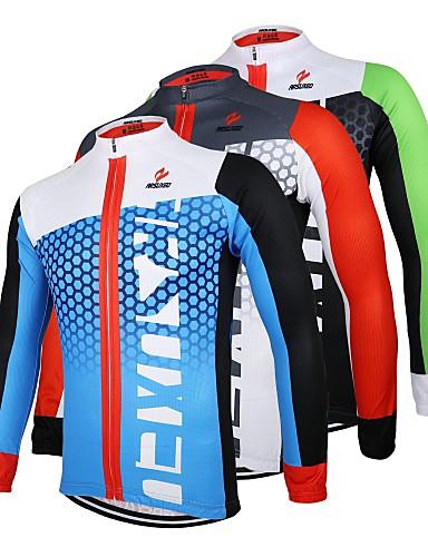 povoljno Biciklističke majice-Arsuxeo Muškarci Dugih rukava Biciklistička majica Crna / Green White+Red Bule / crna Bicikl Biciklistička majica Majice Prozračnost Quick dry Anatomski dizajn Sportski 100% poliester Brdski