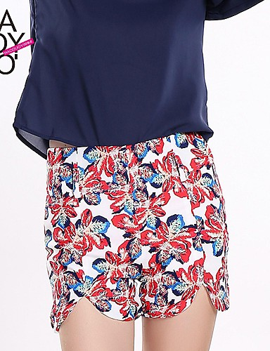 billige Dametopper-Dame Klassisk & Tidløs Hengende Shorts / Jeans Bukser - Multi-farge / Reaktivt Trykk Klassisk Stil Regnbue