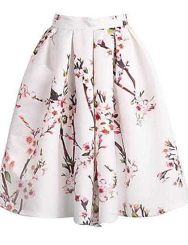 Mujer Vintage Seda Línea A Faldas - Estampado, Floral Floral Negro Beige Verde L XL XXL