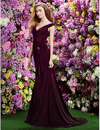 cheap Evening Dresses-Mermaid / Trumpet Formal Evening Dress Off Shoulder Sweep / Brush Train Velvet with Criss Cross Ruched Crystal Brooch 2020