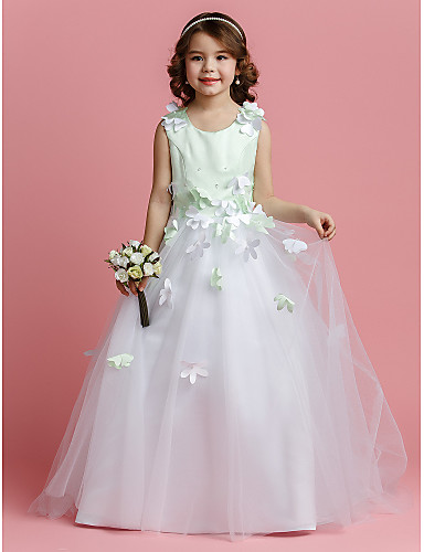 f963a965f04 A-Line   Princess Sweep   Brush Train Flower Girl Dress - Satin   Tulle  Sleeveless Jewel Neck with Beading   Flower by LAN TING BRIDE®   Spring    Summer ...