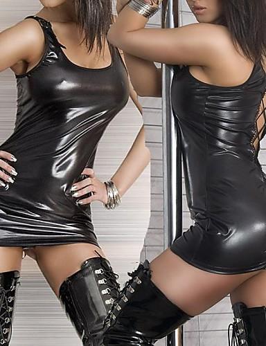 preiswerte Sexy Uniformen-Nachtclub-Tänzerin schwarz PU-Leder-Kleid ultra sexy Uniform