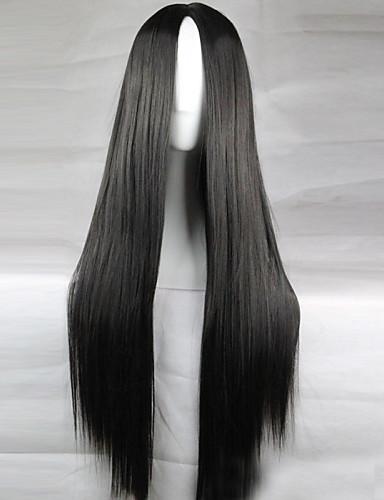 preiswerte Pflege & Haar-Synthetische Perücken Glatt Kardashian Stil Asymmetrischer Haarschnitt Perücke Schwarz Synthetische Haare 28 Zoll Damen Natürlicher Haaransatz Schwarz Perücke Lang