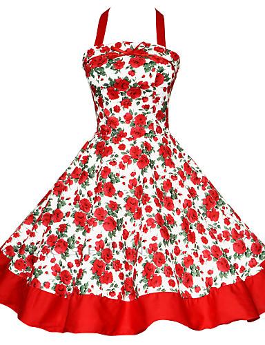 preiswerte Übergrößenkollektion-Damen Übergrössen Retro Baumwolle A-Linie Kleid - Rückenfrei / Druck, Einfarbig Knielang Halter