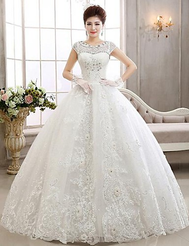 Ball Gown Illusion Neckline Floor Length Lace Tulle Wedding Dress With Beading Appliques By QQC Bridal 2823768 2018 9999