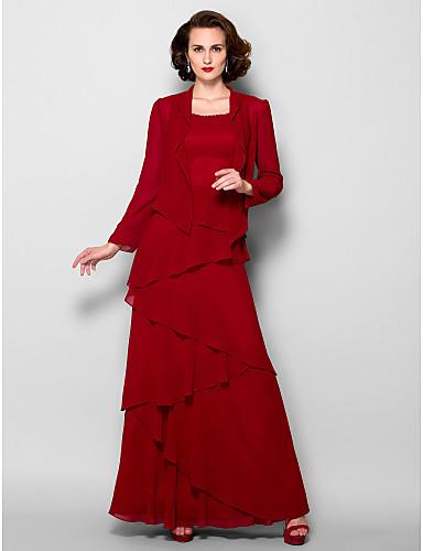 voordelige Wrap Dresses-A-lijn Scoop Neck Tot de grond Georgette Bruidsmoederjurken met Kralen door LAN TING BRIDE® / Wrap inbegrepen